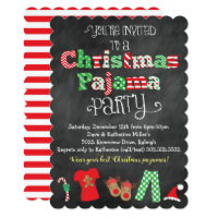 Christmas Pajama Party Chalkboard Invitation