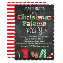 Christmas Pajama Party Chalkboard Invitation