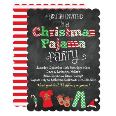 Chalkboard Christmas Pajama Party Invitations | Zazzle.com