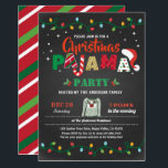 """Christmas pajama party holiday party chalkboard invitation<br><div class=""""desc"""">[All text are editable, except """"PAJAMA""""] Get this stylish design now! Occasion: Christmas party, holiday party, housewarming party, baby shower, birthday party, retirement., etc. Theme: Christmas pajama Style: modern, chic, cheerful, fun Colors: red, white, green, festive colors. Graphics: chalkboard background, Christmas candy cane, colorful Christmas string light, pajama, Santa Claus...</div>"""