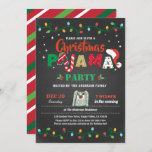 "Christmas pajama party holiday party chalkboard invitation<br><div class=""desc"">[All text are editable, except ""PAJAMA""] Get this stylish design now! Occasion: Christmas party, holiday party, housewarming party, baby shower, birthday party, retirement., etc. Theme: Christmas pajama Style: modern, chic, cheerful, fun Colors: red, white, green, festive colors. Graphics: chalkboard background, Christmas candy cane, colorful Christmas string light, pajama, Santa Claus...</div>"