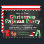 "Christmas Pajama Party Invitation - Chalkboard<br><div class=""desc"">This fun and festive Christmas Pajama Party chalkboard style invitation is perfect for any Christmas pajama theme event! This design features a chalkboard style background,  bright Christmas color pattern letters,  and fun Christmas graphics and illustrations along the bottom including Christmas pajamas,  reindeer slippers,  candy cane and Santa hat!</div>"