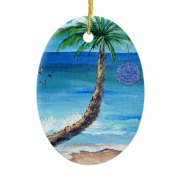 Beach Themed Christmas Palm Blue Bulb Ornament
