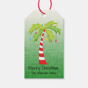 Christmas Palm Tree Personalized Gift Tags