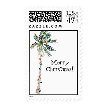Christmas Themed Christmas Palm Tree Postage Stamp