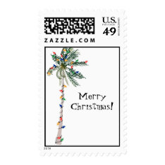 Christmas Palm Tree Postage Stamp at Zazzle