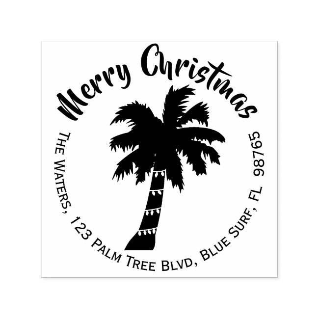 Christmas Palm Tree Return Address Stamp Round