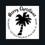 """Christmas Palm Tree Return Address Stamp Round<br><div class=""""desc"""">This fun tropical Christmas self inking return address rubber stamp has a silhouette of a coconut palm tree with string lights wrapped around the trunk. The words make a circle around the tree, a round shape. ----- Add your name and address in the template to personalize. You can change the...</div>"""