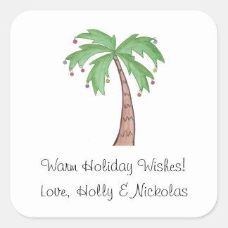 Christmas Palm Tree Square Sticker