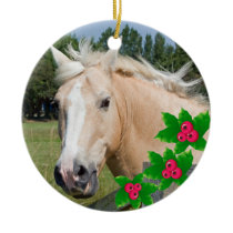 Christmas Palomino Horse & Holly Round Ornament