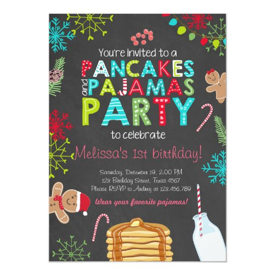 Christmas pancake and pajamas birthday invitation zazzle christmas pancake and pajamas birthday invitation filmwisefo