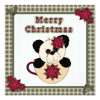 Christmas Panda Bear in Cup Plaid Children's Party Card