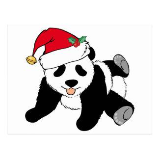 Christmas Panda Bear in Santa Hat Postcard