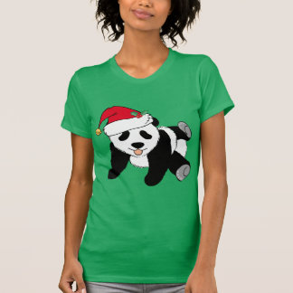 Christmas Panda Bear in Santa Hat T-Shirt