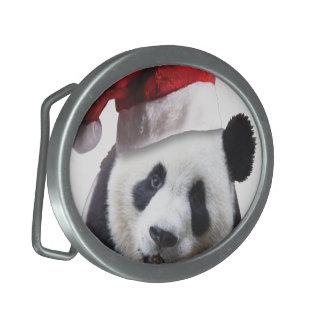 Christmas Panda Bear Oval Belt Buckle