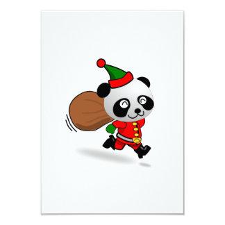 "Christmas Panda Bear Santa Claus 3.5"" X 5"" Invitation Card"