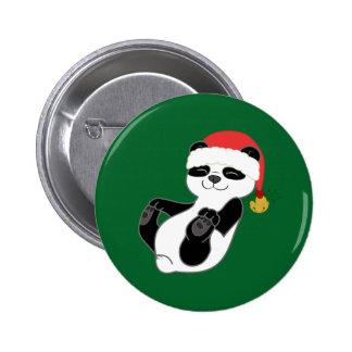 Christmas Panda Bear with Santa Hat & Jingle Bell 2 Inch Round Button