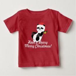 Christmas Panda Bear with Santa Hat & Jingle Bell Baby T-Shirt