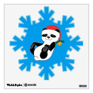 Christmas Panda Bear with Santa Hat & Jingle Bell Wall Decal