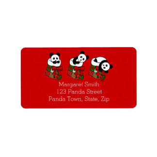 Christmas Panda Cartoon Stocking Label