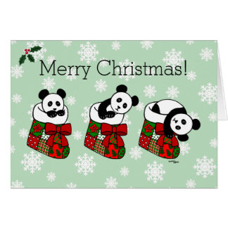 Christmas Panda Cartoon Stocking Snowflake Card