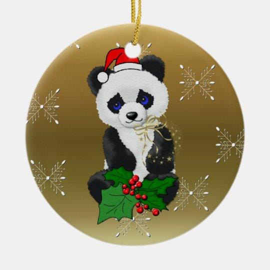 Christmas Panda Ceramic Ornament | Zazzle.com