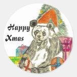 Christmas Panda Classic Round Sticker