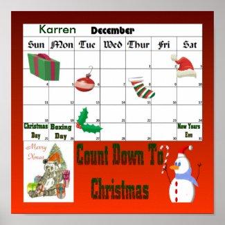 Christmas Panda Countdown To Christmas print