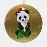 Christmas Panda Double-Sided Ceramic Round Christmas Ornament
