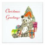 Christmas Panda 5.25x5.25 Square Paper Invitation Card