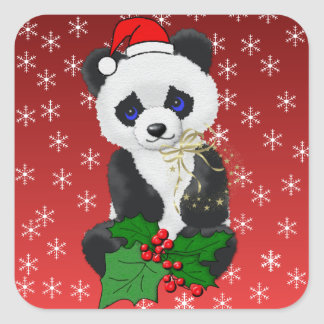 Christmas Panda Square Sticker