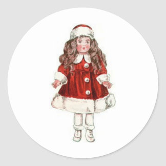 Christmas Paper Doll Classic Round Sticker