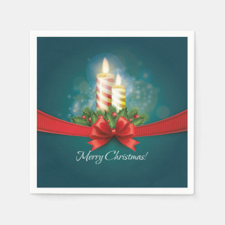 Christmas Paper Napkins with candles