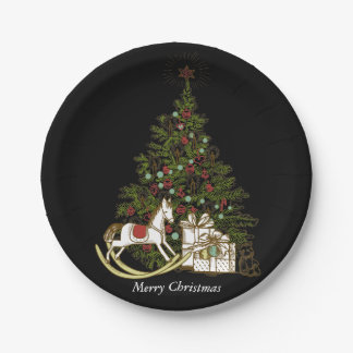 Christmas Paper Plates ~ Black