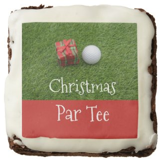 Christmas Par tee with golf ball and gift Brownie