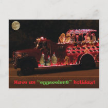 Christmas Parade Chickens Holiday Postcard