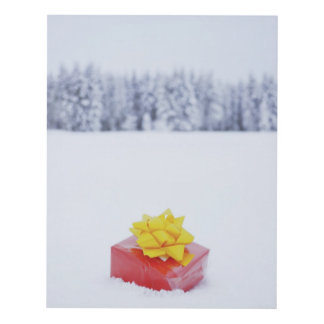 Christmas parcel in snowy landscape panel wall art