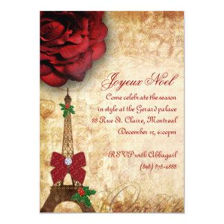 Christmas Paris Card Eiffel Tower Vintage Rose 2