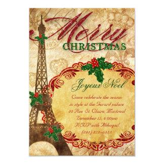 Christmas Paris Invite Eiffel Tower Vintage