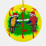 CHRISTMAS PARROTS Double-Sided CERAMIC ROUND CHRISTMAS ORNAMENT