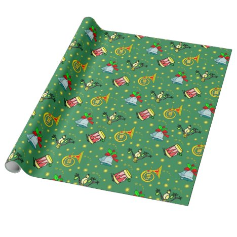 Christmas, Partridge and Drums Wrapping Paper