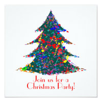 Christmas Party, Action Painting  Art Card
