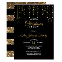CHRISTMAS PARTY Black Gold Glitter Stars Invitation