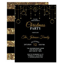 CHRISTMAS PARTY Black Gold Glitter Stars Invitation