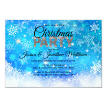 CHRISTMAS PARTY Blue White Snowflakes Snow Glitter Invitation