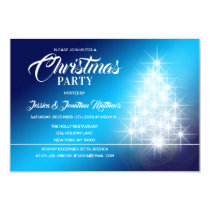 CHRISTMAS PARTY Blue White Twinkle Lights Tree Invitation
