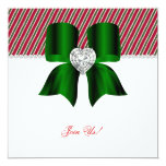 """Christmas Party Candy Cane Green Jewel Bow Invite 5.25"""" Square Invitation Card"""