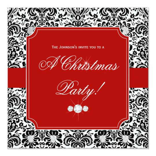 Christmas Party Damask Red Black White Invite