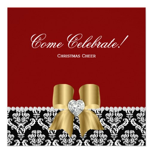 Christmas Party Damask Red BW Jewel Bow Gold Announcement