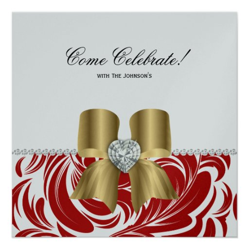 Christmas Party Damask Red Leaf Jewel Bow Gold Custom Invitation